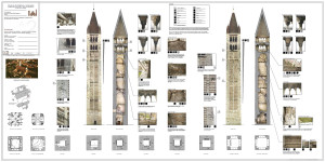 Tavola di presentazione del progetto di restauro della Torre Campanaria