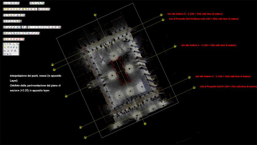 Planimetria mostrante il metodo di assemblaggio delle scansioni