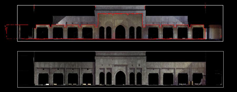 sono mostrati il prospetto e la sezione ottenuti dalle scansioni