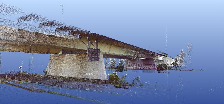 Viadotto Autostrada A4 - rilievo laser scanner tridimensionale